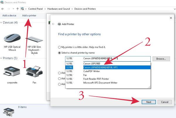 Add printer lewat control panel