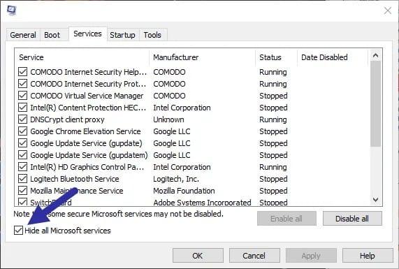 Beri-centang-di-bagian-Hide-all-Microsoft-services