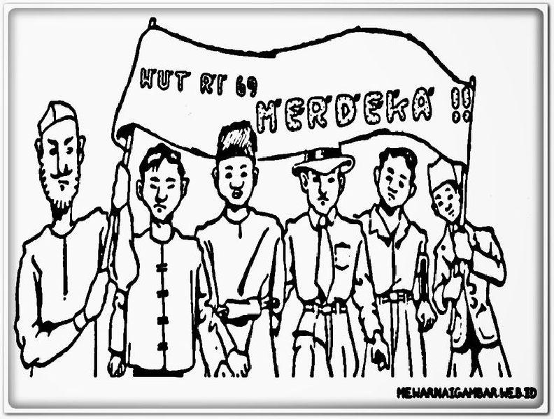 Gambar mewarnai hut kemerdekaan ri para pahlawan