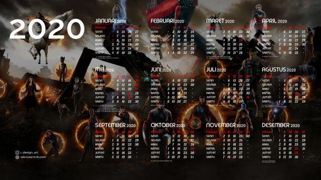 Kalender 2020 background Avenger End Game 2 Full HD 4K