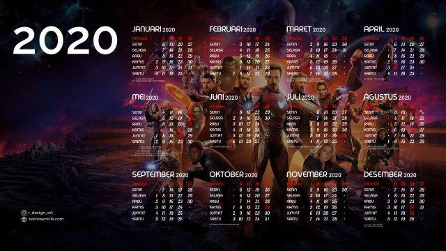 Kalender 2020 background Avenger Infinity War Full HD 4K