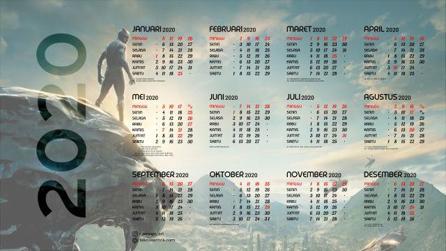 Kalender 2020 background Black Phanter Full HD 4K
