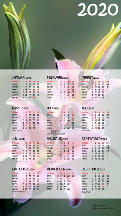 Kalender 2020 background Bunga portrait Full HD 4K
