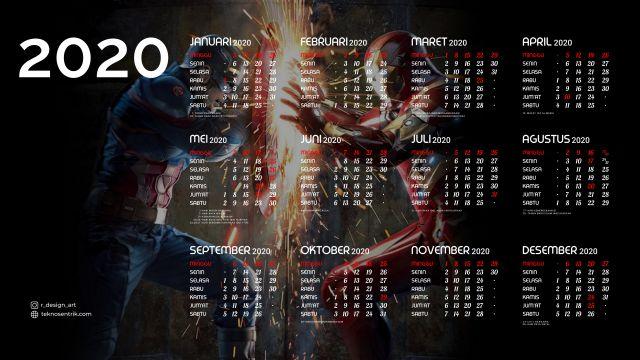 Kalender 2020 background Captain America vs Iron Man Full HD 4K