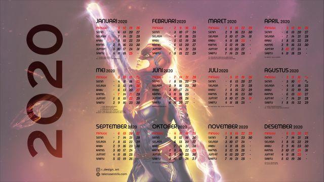Kalender 2020 background Captain Marvel Full HD 4K