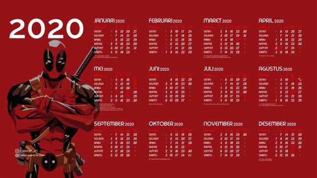 Kalender 2020 background Deadpool Full HD 4K