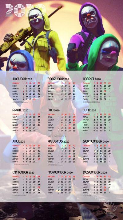 Kalender 2020 background Free Fire portrait Full HD 4K