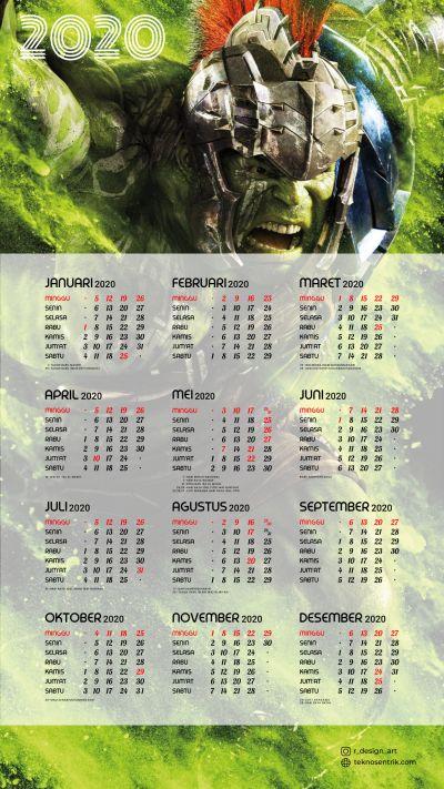 Kalender 2020 background Hulk portrait Full HD 4K