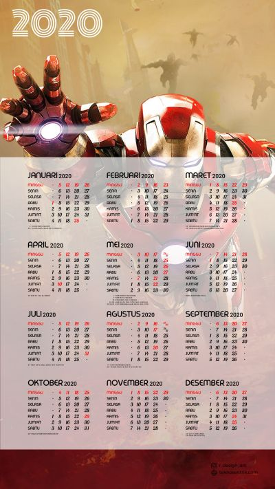Kalender 2020 background Iron Man portrait Full HD 4K