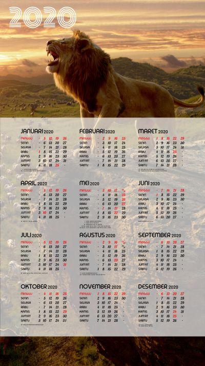 Kalender 2020 background Lion King portrait Full HD 4K