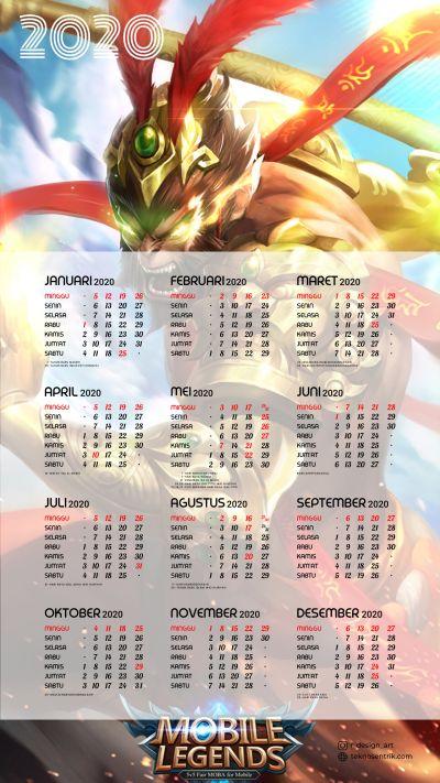 Kalender 2020 background Mobile Legends portrait Full HD 4K