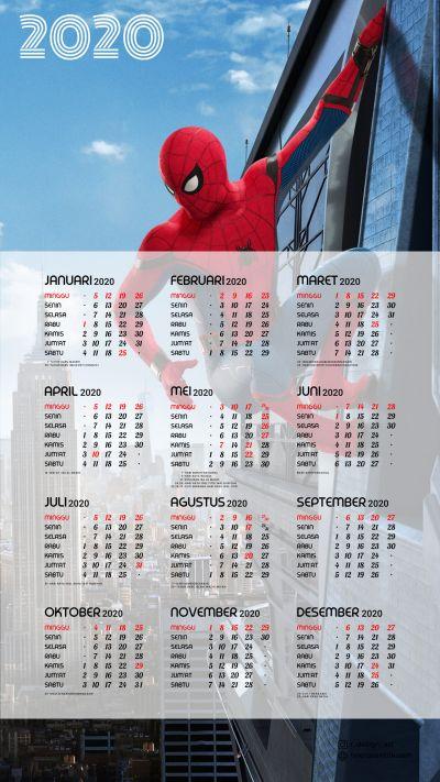 Kalender 2020 background Spiderman portrait Full HD 4K