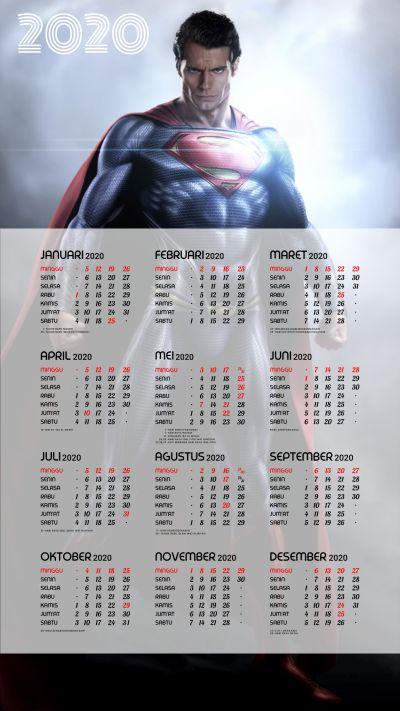 Kalender 2020 background Superman portrait Full HD 4K