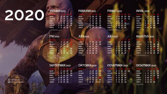 Kalender 2020 background Thanos Full HD 4K