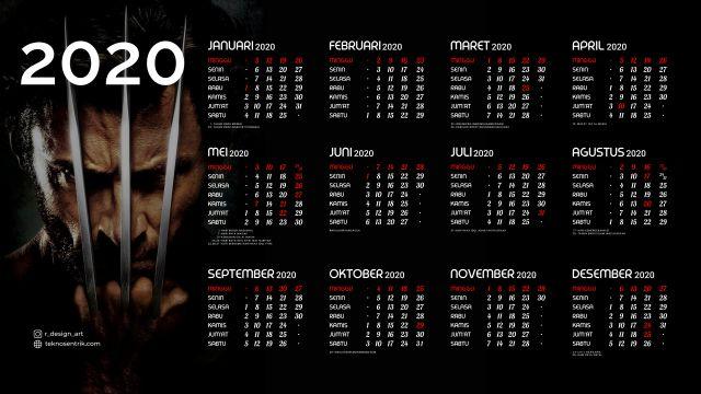 Kalender 2020 background Wolverin Full HD 4K