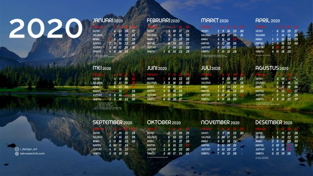Kalender 2020 background pemandangan alam 2 Full HD 4K
