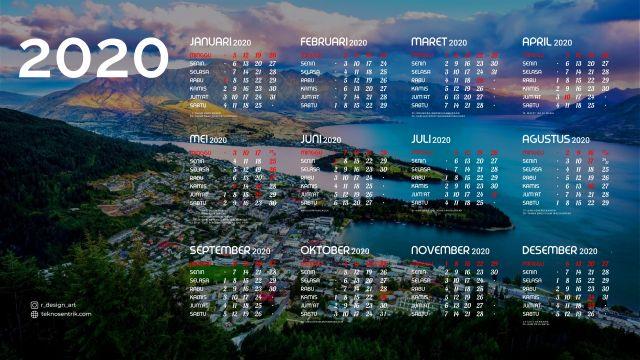 Kalender 2020 background pemandangan alam 3 Full HD 4K