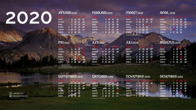 Kalender 2020 background pemandangan alam 4 Full HD 4K