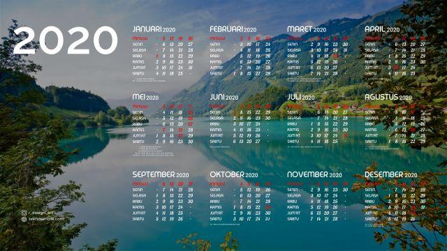 Kalender 2020 background pemandangan alam Full HD 4K