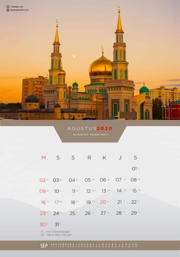 Kalender masehi dan hijriyah Agustus 2020