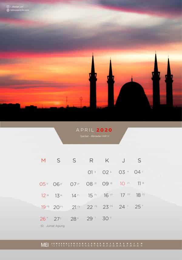 Kalender masehi dan hijriyah April 2020