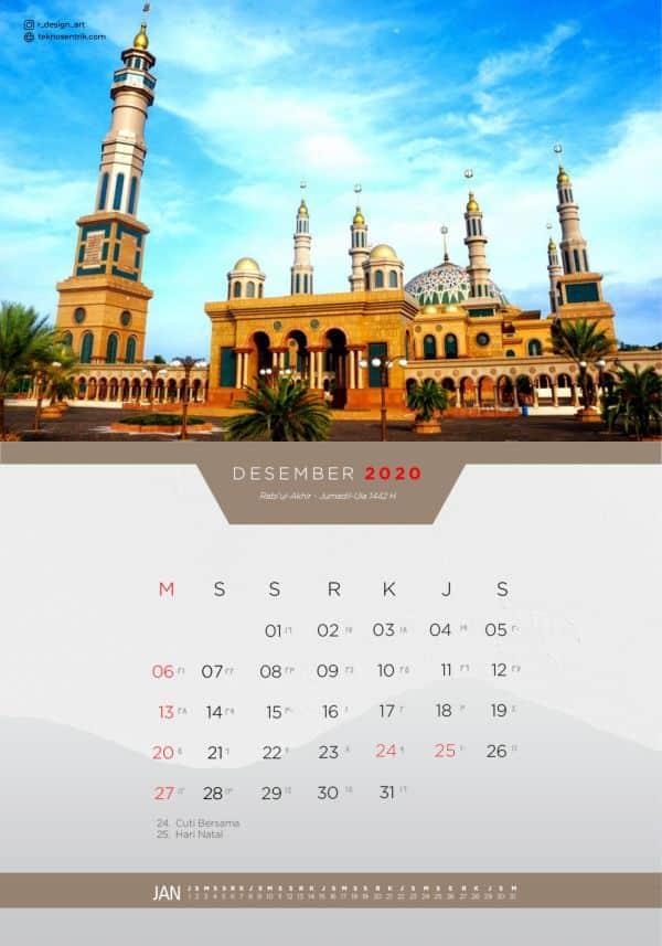 Kalender masehi dan hijriyah Desember 2020 revisi