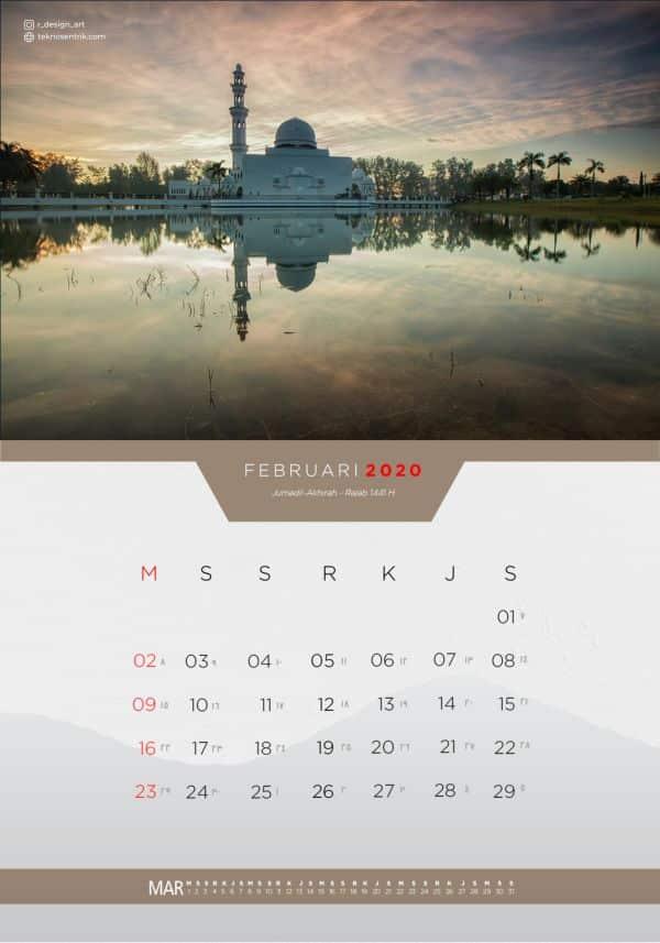 Kalender masehi dan hijriyah Februari 2020
