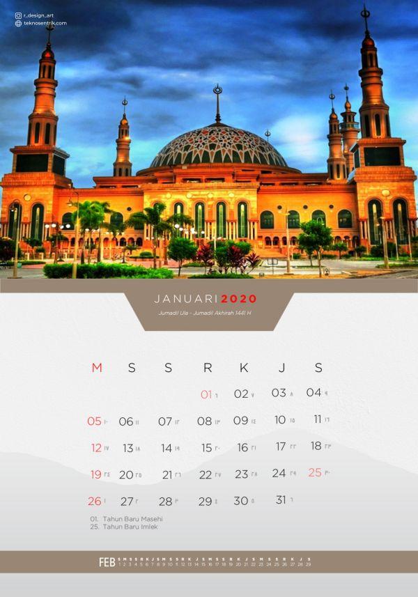 Kalender masehi dan hijriyah Januari 2020