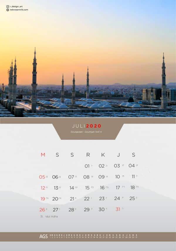 Kalender masehi dan hijriyah Juli 2020