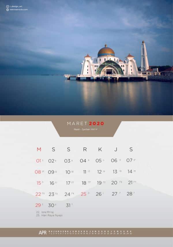 Kalender masehi dan hijriyah Maret 2020