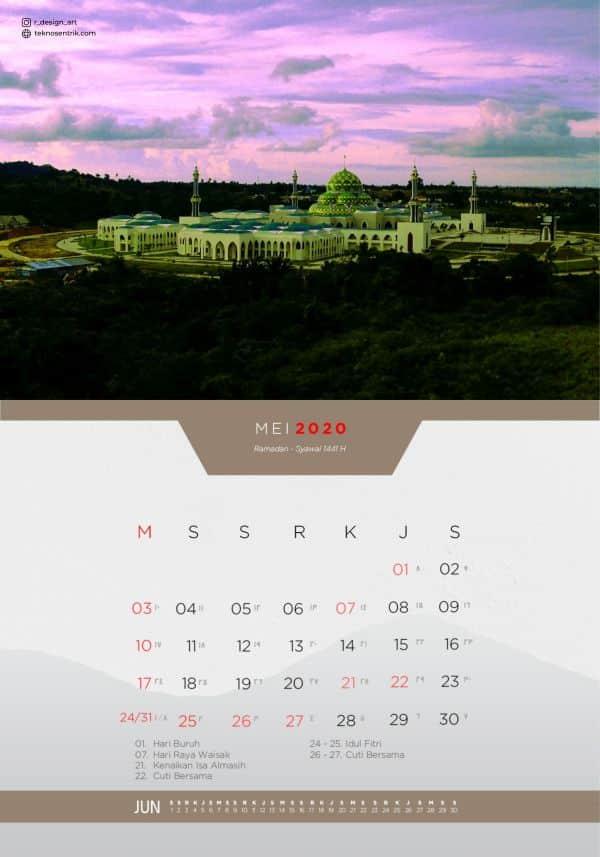 Kalender masehi dan hijriyah Mei 2020
