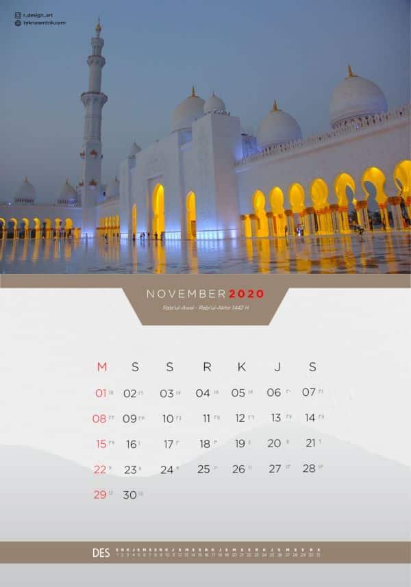 Kalender masehi dan hijriyah November 2020