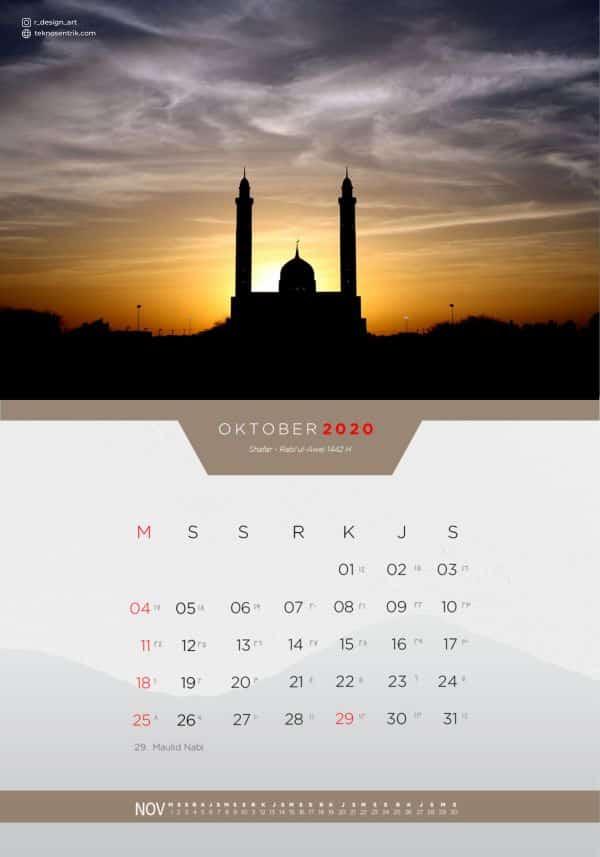 Kalender masehi dan hijriyah Oktober 2020