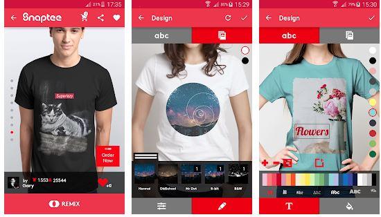 T shirt design Snapteee untuk android dan iOS