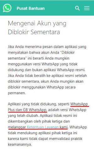 akun kena blokir sementara karena menggunakan gbwhatsapp