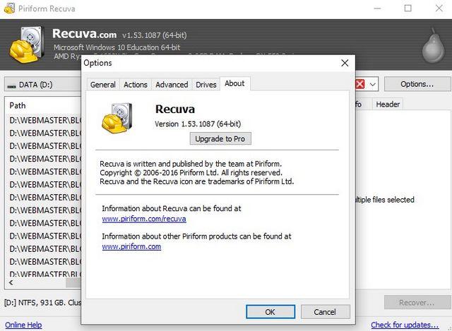 aplikasi recovery terbaik windows 10 recuva