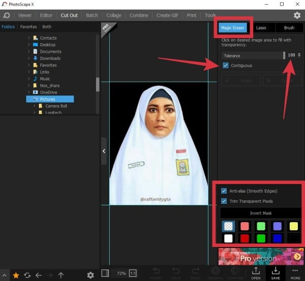 cara edit background foto menjadi merah biru kuning