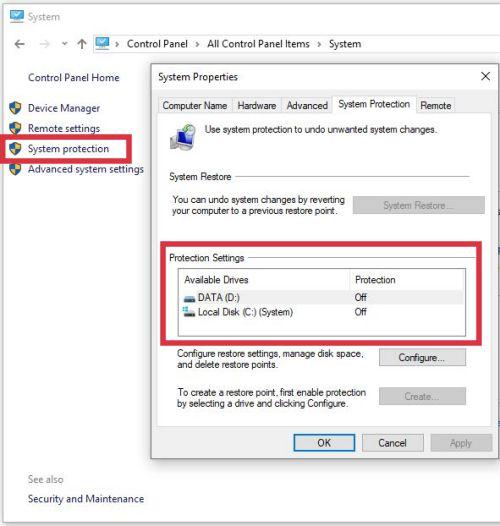 cara mengaktifkan system restore point di windows 10