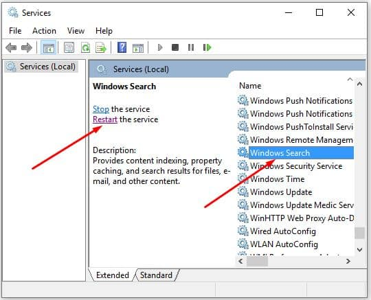 cara mengatasi windows search error blank kosong