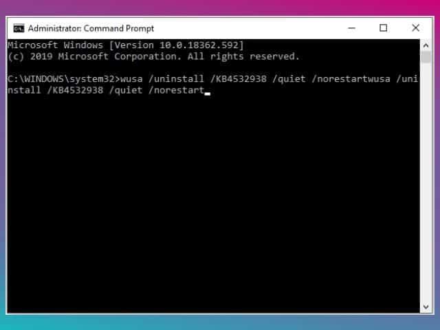 cara menghapus update windows 10 dengan cmd