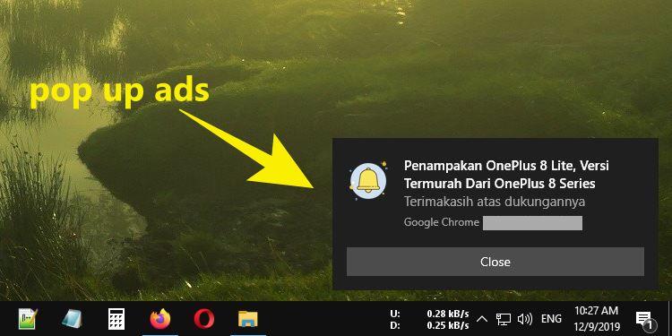 cara menghilangkan notifikasi iklan pop up di windows