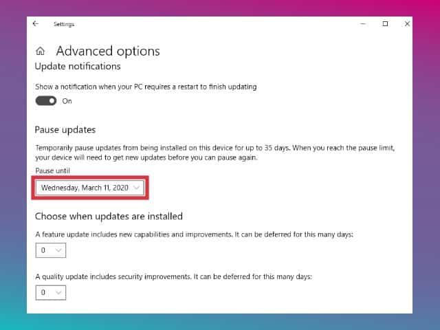 cara menonaktifkan update windows 10