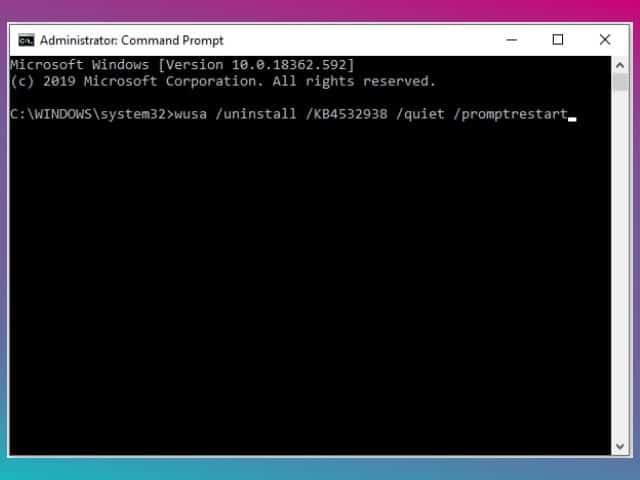cara uninstall update windows 10 menggunakan command prompt