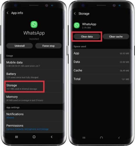 clear data untuk logout whatsapp di hp android