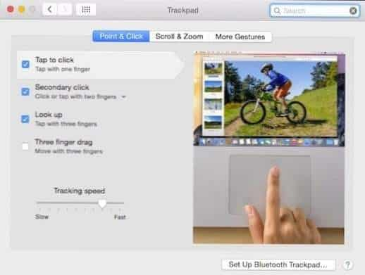 fitur trackpad macbook point and click