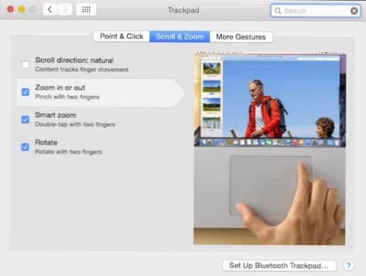 fitur trackpad macbook scroll and zoom