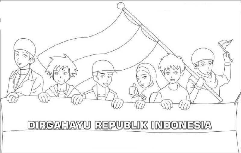 gambar mewarnai hari kemerdekaan indonesia bendera merah putih