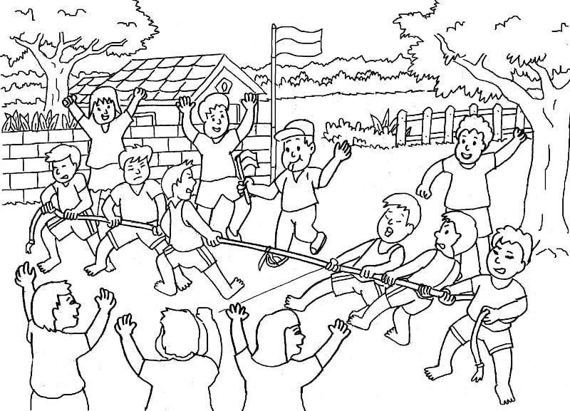 contoh mewarnai gambar tema kemerdekaan indonesia 2020