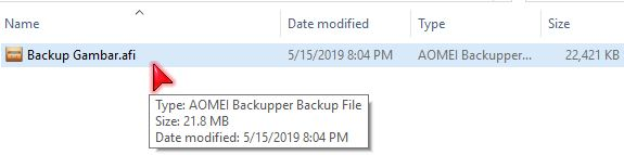 hasil file backup