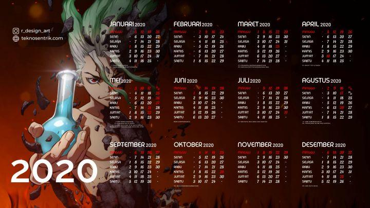 kalender 2020 background anime dr stone